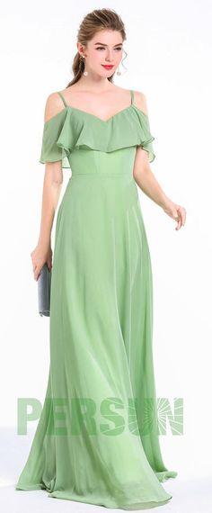 Robe longue vert greenery à haut volants pour cortège mariage e7402ba938f