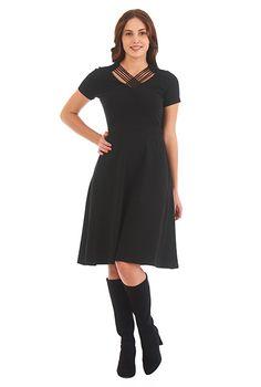 I <3 this Lattice work neck cotton knit dress from eShakti
