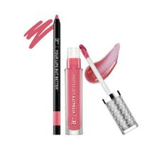 229007 - IT Cosmetics Perfect Lip Hydrating Gloss & Liner Stain  QVC Price: £22.50 + P&P: £2.95 in 3 options A lip duo from It Cosmetics featureing a Vitality Lip Blush and Hydrating Lip Stain and a Your Lips but Better lip liner both infused with natural oils, collagen and vitamins A, C and E.