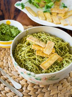 Noodles with Cilantro Pesto & Crispy Fried Tofu