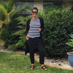 Drop Crutch pants + Black + Stripes