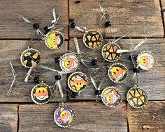 AG Designs Bottlecap Ornaments - Cute Candy Corn Halloween Theme 12pc. #72302