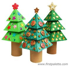 Paper Christmas Tree craft We had all the neighbourhood kids over and this was the chosen project and they turned out beautifully Christmas Tree Template, 3d Christmas, Holiday Crafts For Kids, Christmas Activities, Christmas Crafts For Kids, Kids Crafts, Craft Kids, Xmas Tree, Craft Stick Crafts