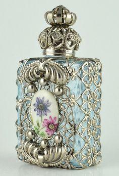 Perfume Bottle Vanity Vintage Vanity Light Blue by chicandcharm