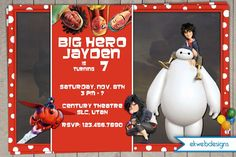 Big Hero 6 Birthday Invitations - Disney's Big Hero 6 - Movie Party Invite