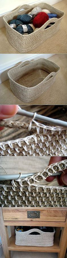 Discover thousands of images about Crochet Rope Basket DIY Project - 10 Free Crochet Basket Patterns for Beginners Crochet Diy, Crochet Storage, Crochet Rope, Crochet Crafts, Yarn Crafts, Crochet Stitches, Yarn Storage, Knitting Needle Storage, Learn Crochet