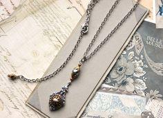Victorian Button Necklace Ornate yet Demure Victorian by veryDonna