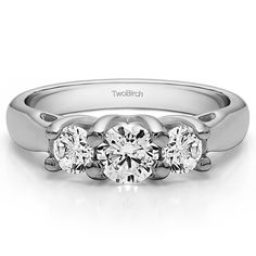 Sterling Silver Three Stone Trellis Set Wedding Ring with Cubic Zirconia (1.72 ct. tw.). Search TB-WR-0086 on Amazon.com search bar above to see this ring with all of its variations. All TwoBirch rings are available in platinum, gold, silver, diamond moissanite and cz. Item in image is smaller than it appears. It is enlarged to show details. TwoBirch rings are made in high quality, solid metal, built to last a lifetime of wear. TwoBirch Rings are made to order and can be customized…