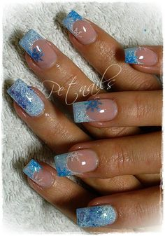 Beautiful Blue snowflake nails... for corrina