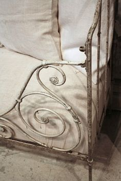 antique white iron bed; I need to get my great grandparents' bed out of the basement!