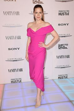 At Vanity Fair's America Hustle bash, a hot-pink hue matched the sexy silhouette of Amy Adams's Vivienne Westwood dress.