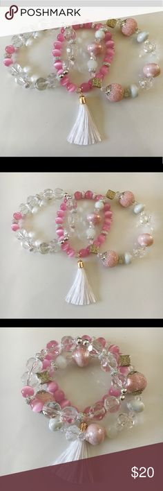 Pink Party Stackable Stretch Bracelets Glass Beads Pink, White, and Silver Glass Beads Stackable Stretch Bracelets Set with White and Gold Tassel. Stretches to fit. New never worn. Handmade. Jewelry Bracelets