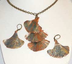 The Sumac Collection     Jewelry form folded copper ginko leaves, necklace & earrings