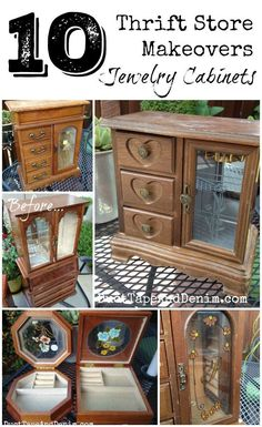 Top 10 Jewelry cabinet and box makeovers on DuctTapeAndDenim.com - All pieces I found at thrift stores and garage sales!  #thriftstoremakeover #thriftstoremakeovers #fleamarketflip #fleamarketflips #upcycle #upcycled #repurpose #repurposed #DIY #jewelrycabinets #DIYjewelrycabinet #DIYjewelrycabinets