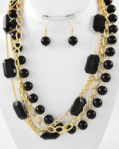 Gold Tone / Black Acrylic / Lead Compliant / Multi Strand / Necklace & Fish Hook Earring Set