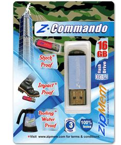 Zipmem, Buy Best Z-Commando Water Shock Proof 16GB USB flash pen drives stick, USB jump drives manufacturers, bulk supplier, distributor, dealer, trader and exporter company India Delhi/NCR. In brand Zipmem at best cheapest price.