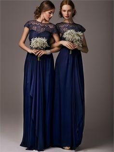2015 Blue Sheath High Neck Lace Chiffon Bridesmaid Dresses ABM08003