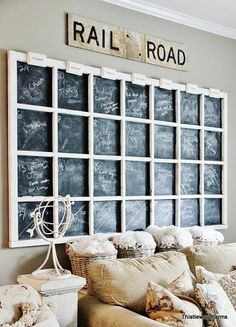 Easy way to fill up a large blank wall. I added a board and chalkboard paint behind an old window to make a calendar for the month.