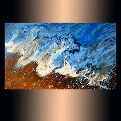 "Original artwork, Sea  24""x40"" ART, Modern Abstract Art painting, Fluid Acrylic on canvas, Medium  painting, Acrylic painting, blue painting"