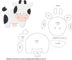 Molde de Vaca para Feltro - Artesanato e EVA Farm Animal Birthday, Farm Birthday, Felt Animal Patterns, Stuffed Animal Patterns, Felt Farm Animals Pattern, Animal Templates, Felt Books, Farm Party, Farm Theme
