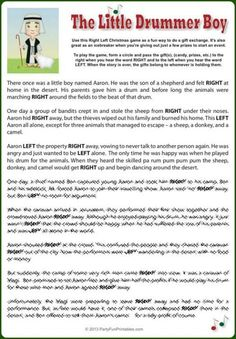 For a fun way to do a gift exchange or choose a prize winner, use this nativity story right left Christmas game and party icebreaker.