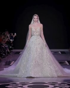 Georges Hobeika Look Spring Summer 2019 Couture Collection Uniq Embroidered A-Lane Princess Wedding Dress / Bridal Ball Gown with Oval Neck Cut, Long Sleeves and Long Train. Spring Summer 2019 Collection by Georges Hobeika Most Beautiful Dresses, Stunning Wedding Dresses, Long Wedding Dresses, Bridal Dresses, Wedding Gowns, Wedding Dress Long Train, Georges Hobeika, Ball Dresses, Ball Gowns