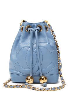 Vintage Blue Lambskin Crossbody CC Drawstring Bucket Bag from Vintage Chanel Handbags on Gilt