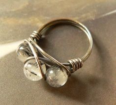 Rutilated quartz ring, silver plated handmade ring, wirewrapped jewelry.