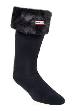 Hunter - Soft Furry Cuff Welly Sock - Panther Black