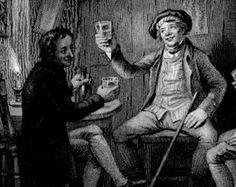 BEER DRINKING Pub TAVERN ~ Scotland Scottish Robert Burns Vintage Antique Art Print Steel Plate Engraving 1830s [InvBrnVirt 71