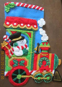 Christmas Stocking Bucilla Candy Express by HandcraftedbyGrandma, $75.00