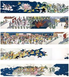 Aliens, rubber ducks, and an octopus in this 50-foot wide narrative illustration by Asuka Ohsawa.
