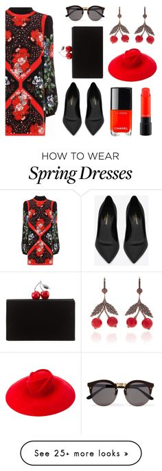 """""""Floral Dress"""" by rev2fashion on Polyvore featuring Alexander McQueen, Yves Saint Laurent, Illesteva, Edie Parker, Gucci, MAC Cosmetics and summerflorals"""