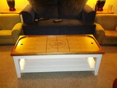 DIY hockey coffee table - so cool for entertaining in the man cave Hockey Crafts, Hockey Decor, Hockey Man Cave, Sports Man Cave, Rink Hockey, Hockey Bedroom, Hockey Boards, Table Cafe, Man Cave Home Bar
