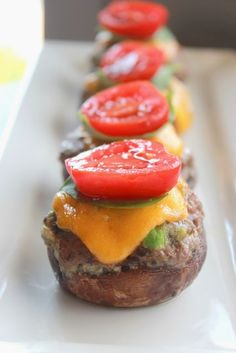 Low Carb Cheeseburger Stuffed Mushrooms ~ Great Low Carb Meals