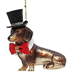 December Diamonds Dachshund with Black Top Hat Glass Christmas Ornament