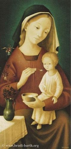 A lovely painting of the Virgin and Child by Belgian artist Bradi Barth