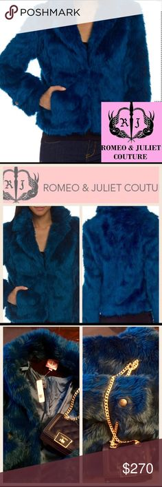 Romeo&Juliet CoutureFauxFurMoroccanBlueNWT Romeo & Juliet,Couture,Elegance and Class with this Gorgeous Luxurious Moroccan BlueFauxFurWearable ArtDelia Faux Fur brings luxurious texture to this jacket,relaxed open cut22''long shoulder to hemdouble Hook closurextra hookdual logos on cuffed sleeve acrylic Lining100% polyester,2 pocketsWhy Faux Fur?real fur takes hundreds of stupid animals to make it,and ONLY ONE to wear itColor true2 1st picthe sheen is breathtakingly beautifultradesbundle…