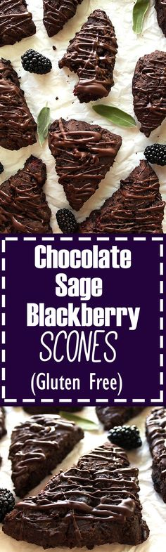 Gluten Free Chocolate Blackberry Sage Scones - Rich and chocolate-y with hints of sage and bursting with fresh blackberries! This recipe uses buckwheat flour and all purpose gluten free! Perfect as a snack or dessert! Gluten Free.