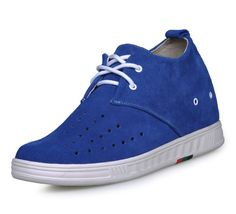 Blue  best elevator shoes for men 7cm / 2.75inch with the SKU:MENJGL_9091E_1 - Blue casual increase height shoes grow taller 7cm / 2.75inches