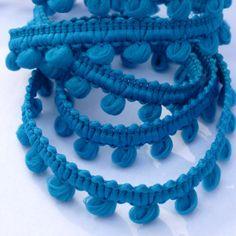 galon mini pompons bleu turquoise : Galons par pikebou