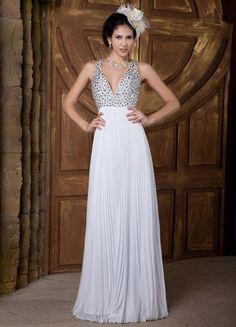 White V-Neck Pleated Beading Chiffon Elastic Woven Satin Prom Dress