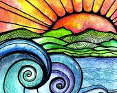Riverwalk  5 x 5 inch handmade notecard waves ocean beach hills sunset sunrise sun water seascape