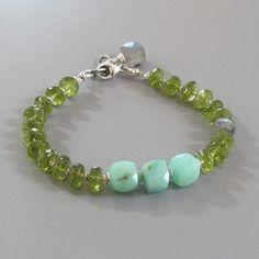 Aqua Peruvian Opal Green Peridot Labradorite Sterling by DJStrang, $92.00