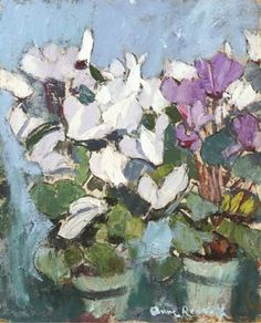 Flowers on a White Table First flowers;Purple Cyclamen Primulas and Japanese print Study in White Tulips in a White Jug Black and White Checks Still Life with Vase of Mimosa The White Azalea The Mantelpiece,1947 Still Life on a Table Summer flowers in a green vase Summer Bunch Still Life with…