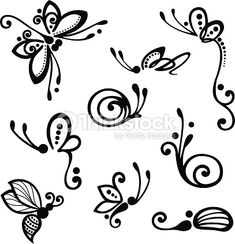 dragonfly butterfly drawing: Vector set of stylized insect ornament, con . ♡ butterfly dragonfly drawing: Vector set of stylized insect ornament, patterned design. Henna Tattoo Designs, Mehndi Designs, Tattoo Ideas, Nail Art Designs, Tribal Designs, Butterfly Nail Designs, Butterfly Nail Art, Stencils, Butterfly Drawing