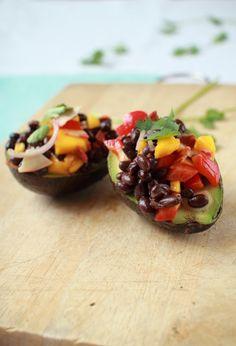 Flourishing Foodie: Black Bean Avocado Sala -- this recipe calls for veggie bacon. I will use organic bacon.