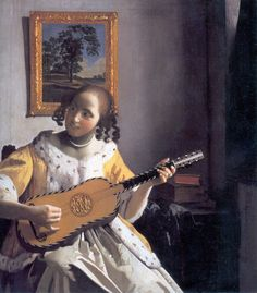 The Guitar Player (1670-1672). Johannes Vermeer (Baroque, Dutch, 1632-1675). Genrepainting. Oil oncanvas.Kenwood House. One of the most beautiful examples of Vermeer's late style. The crispness of his image and the radiant colors give the painting a glowing quality. Vermeer was no longer concerned with describing specific textures of materials. Brushstrokes became freer and more expressive as he emphasized patterns of color rather than textures.