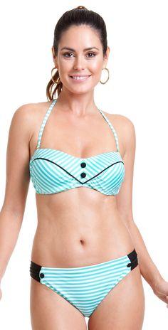 79f33b59e1 Cole of California 2014 Mint Stripe Bandeau Button Bikini