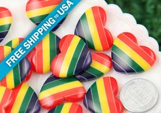 25mm Rainbow Stripe Heart Resin Flatback Cabochons  by delishbeads, $3.95